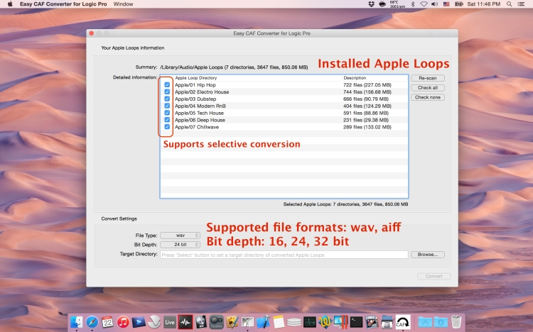 Installed Apple Loops information, and supported convert options